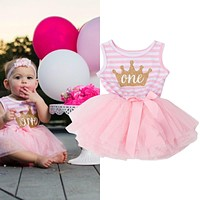 Toddler Girl 1st Birthday Outfits Children's Clothing Girl Age 1 2 3 Years Kids Clothes Girl cute Crown Infant Party Dress