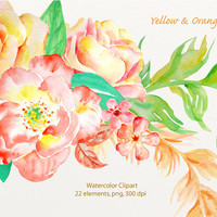 Watercolor clip art classic yellow and orange roses instant download or wedding invitations, greeting cards