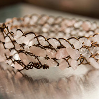 Pink Quartz and Antiqued Brass Braided Bangle, Gifts under 40