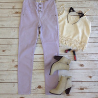 Pastel High-waisted Pants-Purple