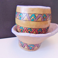 Vintage Ethnic Gourd Cup Bowl Hand Painted Folk Art Home Decor