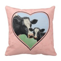 Holstein Cow and Calf Pink Heart Throw Pillows