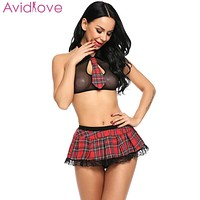 Avidlove Women Babydoll lingerie Set Sexy cosplay Lingerie Schoolgirl Student Plaid Uniform Costumes Outfit