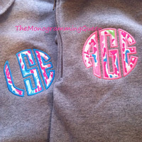 Lilly Pulitzer Let's Cha Cha Monogram Applique 1/4 zip sweatshirt