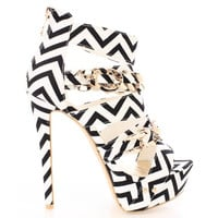Kyle-04 Black White Chevron Print Open toe Strappy Sandal High Heel Shoes