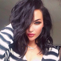 High Quality Lace Wig Black Long Wavy Bob Synthetic Lace Front Wigs Heat Resistant for Black Women Fashion Beauty Long Wig