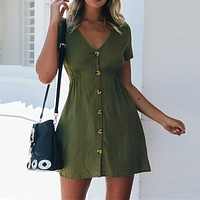 Vintage Summer Holiday dress For Womens Fashion women Casual Solid V Neck Button Down Loose Short Sleeve Mini Dress robe femme