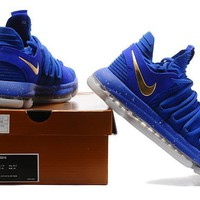 2017 Nike Zoom KD10 Kevin Durant ¢ú Royal blue/Gold Basketball Shoes