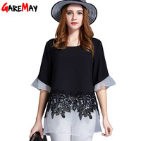GAREMAY Blouse Feminina Plus Size Women Lace Blouse Crochet Tops Organza Elegant Women Shirts Workwear 4XL Summer Clothes 6652