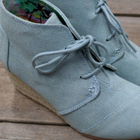 Coconut Bay Blue Canvas Espadrille Oxford Wedges