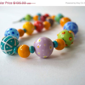 SPRING SALE Colorful Necklace, Beaded Necklace, Lampwork Glass Jewelry, Patterned Necklace