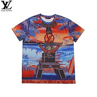 LV 2020 new personality printed loose round neck half-sleeved T-shirt