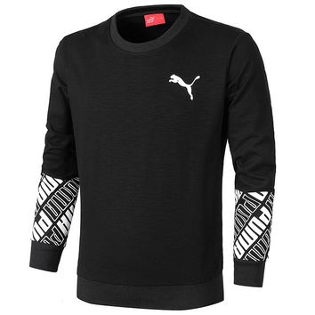 PUMA 2018 autumn new men's cotton breathable casual sports long-sleeved sweater Black