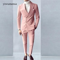 tuxedo  talian Luxury Beige Mens Suit Double Breasted Pink Wedding suits for man England Style Slim Fit two Pieces cheap suits