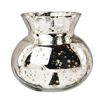 Vintage Mercury Glass Vase (4-Inch, Clara Pot Belly Design, Silver) - Decorative Flower Vase - For Home Decor, Party Decorations, and Wedding Centerpieces