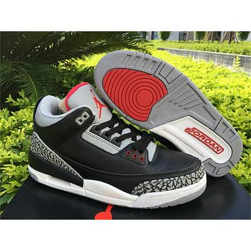Air Jordan 3 Retro Black/Red Basketball Shoes 36-47