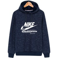 NIKE 2018 winter hooded print plus velvet sports pullover sweater Blue