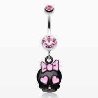 zzz-Charming Skull Charm Belly Ring