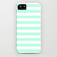 MINT STRIPES iPhone Case by nataliesales | Society6