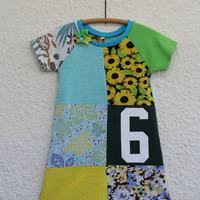 Recycled Girl's Size 6 T Shirt Dress  made from Upcycled T Shirts with Number 6 Graphic for Birthday Dress, Upcycled Girl's T Shirt Dress