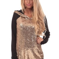 Black Hoodie with Gold Sequin Hood and Sleeves