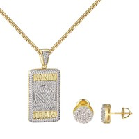 Money Team Dog Tag Pendant 14k Gold Tone Cluster Set Earrings Chain Combo Set