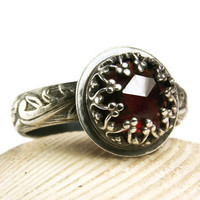 Vintage Style Garnet Ring, Renaissance Ring, Gothic Style Jewelry, Natural Gemstone Ring