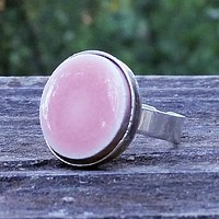 Pink ceramic tile silver-plated ring