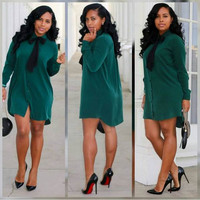Green Button Down Bow Long Sleeves High Low Mini Dress