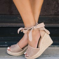 Monroe Taupe Wrap Wedges