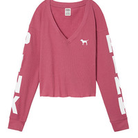 Cropped Long Sleeve Waffle Tee - PINK - Victoria's Secret