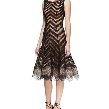Oscar de la Renta Sleeveless Chevron Lace Dress