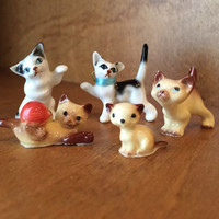 Vintage Bone China Miniature Cat Figurines Set Of 5 Hagen-Renaker Bone China Miniature Cats