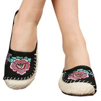 Old Beijing Cloth Embroidered Shoes Flax Sandals Slippers  black