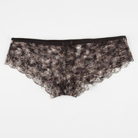 Printed Lace Boyshorts Black  In Sizes