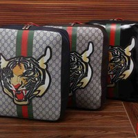 DCCK6HW Gucci' Men Casual Fashion Classic Multicolor Stripe Tiger Head Print Backpack Large Capacity Travel Double Shoulder Bag