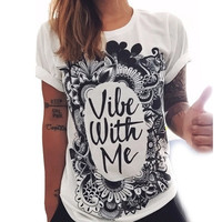 SIMPLE - Summer Beach Holiday Cotton Floral Black White Loose Alphabets Words Casual Boho Top Shrit T-shirt T-shirt b2274
