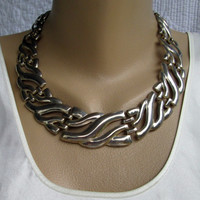 Chunky Wide Silverplated Retro Necklace Vintage Jewelry