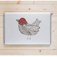 """Red Doodle Bird Die Cut Sticker // Woodland Decal // Computer & Tablet XL Size // 8"""" // Perfect For Indoor, Outdoor, Laptop, Car"""