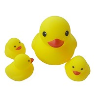 4 PCS Cute Baby rattle Bath toy Squeeze animal Rubber toy duck BB Bathing water toy Race Squeaky Yellow Duck Classic Toys