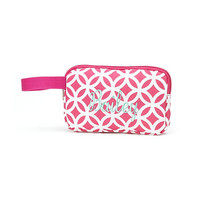 Monogrammed Mini Accessory Bag Pink Sadie Geometric Pencil Case School