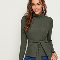 Army Green High Neck Rib-Knit Tie Front Top