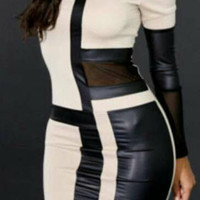 Black and White Mesh and Leather Accent Bodycon Mini Dress