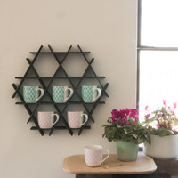 Coffee Rack, Black Kitchen Shelf, Coffee Mug Display, Coffee Mug Holder, Kitchen Rack, kitchen storage, Coffee Decor, Hanging Shelf