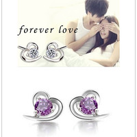 Fashion Women&Girls Heart-shaped Earrings White&Purple Crystal Eardrop Rhinestone Stud Earing Lovers Gift