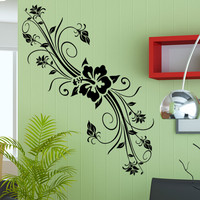 Vinyl Wall Decal Sticker Hibiscus With Vines #5323
