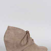 Women's Qupid Suede Lace Up Wedge Bootie