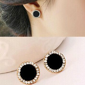 Black Round Button Earrings With Shiny Crystal Stud Earrings Button Earrings Rhinestone Earrings For Women Fashion Gift