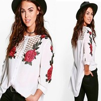 Plus Size Hollow Out Shirt [11621663380]