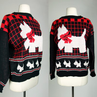 1980s scotty dog sweater, Christmas novelty dog print acrylic knit long sleeve top, Large